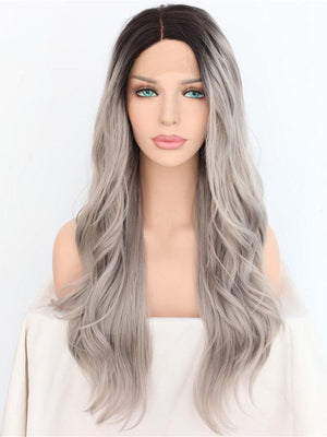 Long Wavy Ombre Grey Synthetic Lace Front Wigs