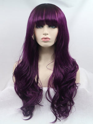 Long Purple Wavy Synthetic Wigs with bangs