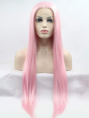 Long Pink Straight Synthetic Lace Front Wigs