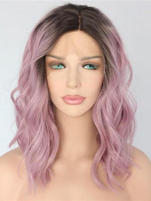 Short Wavy Ombre Purple Synthetic Lace Front Wigs