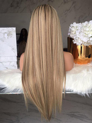 Long Straight Ombre Blonde Highlight Human Lace Front Wigs Full Lace Wigs Preplucked Hairline with Baby Hair