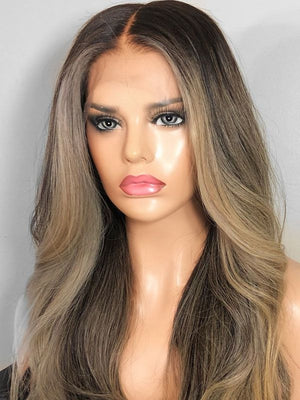Long Highlight Blonde Human Lace Front Wigs Preplucked 150 Density 100% Human Full lace Wigs