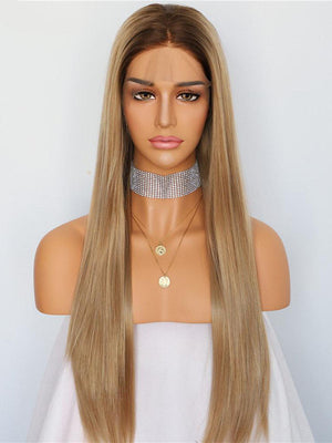 Straight Long Ombre Brown Synthetic Lace Front Wigs