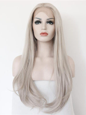 Long Wavy Grey Synthetic Lace Front Wigs