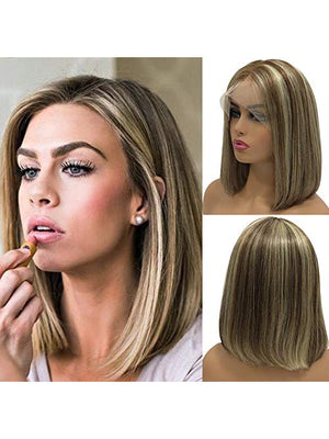 Brown Highlights Blonde human Lace Front Wigs Pre Plucked Short Bob Remy Human Full Lace Wigs