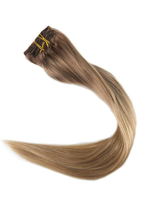 Ombre Balayage Blonde Clip in Hair Extensions (#10/#16)