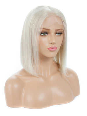 #60 Platinum Blonde Short Bob 13x4 Lace Front Human Hair Wigs For White Women 150% Preplucked With Baby Hair