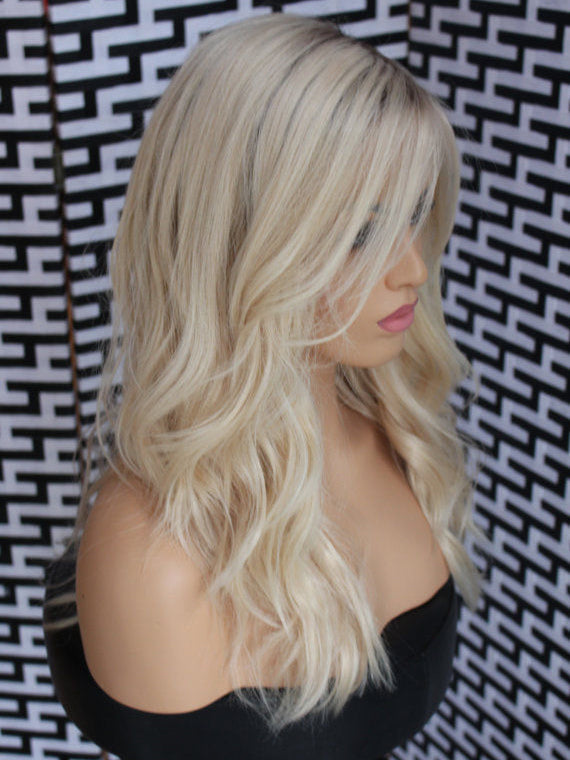 Long Ombre Blonde Human Lace Front Wigs 2 tones 100%  Human 150 Density Preplucked Full Lace Wigs