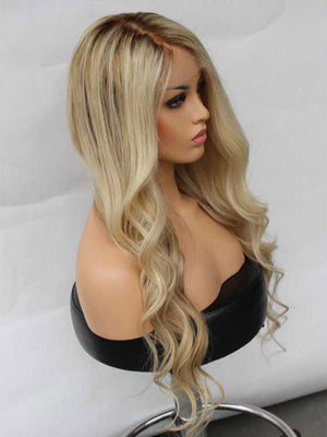 Ombre Blonde Highlight Human Lace Front Wigs Preplucked  150 Density 100%  Human Full Lace Wigs For Caucasian