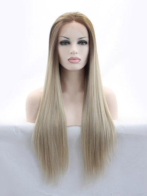 Long Straight Ombre Blonde Synthetic Lace Front Wigs