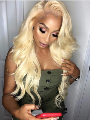 Long Blonde Body Wave Human lace Front Wigs For Women Pre Plucked Full Lace Wigs with Baby Hair