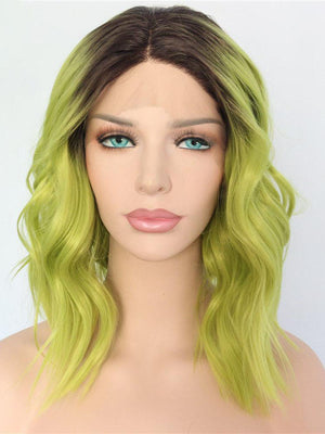 Short Wavy Ombre Green Synthetic Lace Front Wigs