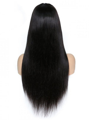 360 Lace Wigs Pre Plucked Long Straight Human Hair Wigs with Bangs 150% Density Remy Human Hair Wigs for Black Women with Baby Hair with Flat Bangs