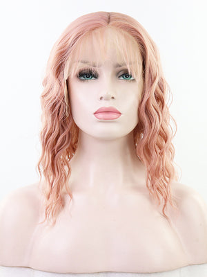 Long Wavy Pink Synthetic Lace Front Wigs
