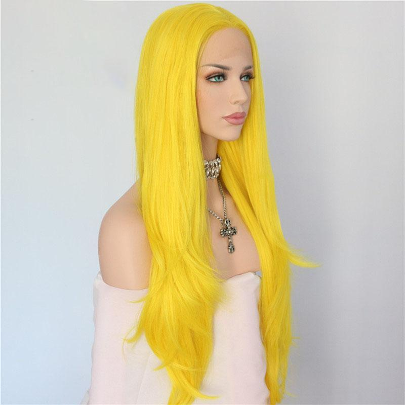 Long Yellow Wavy Synthetic Lace Front Wigs