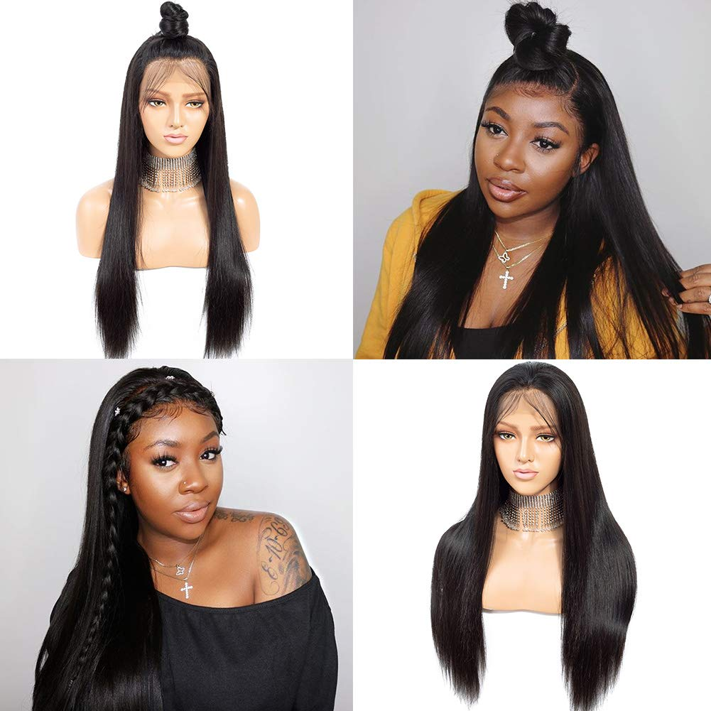 9A Lace Front Wigs Human Hair with Baby Hair Pre Plucked Bleached Knots Remy Brazilian Straight Lace Wigs for Black Women Natural Color