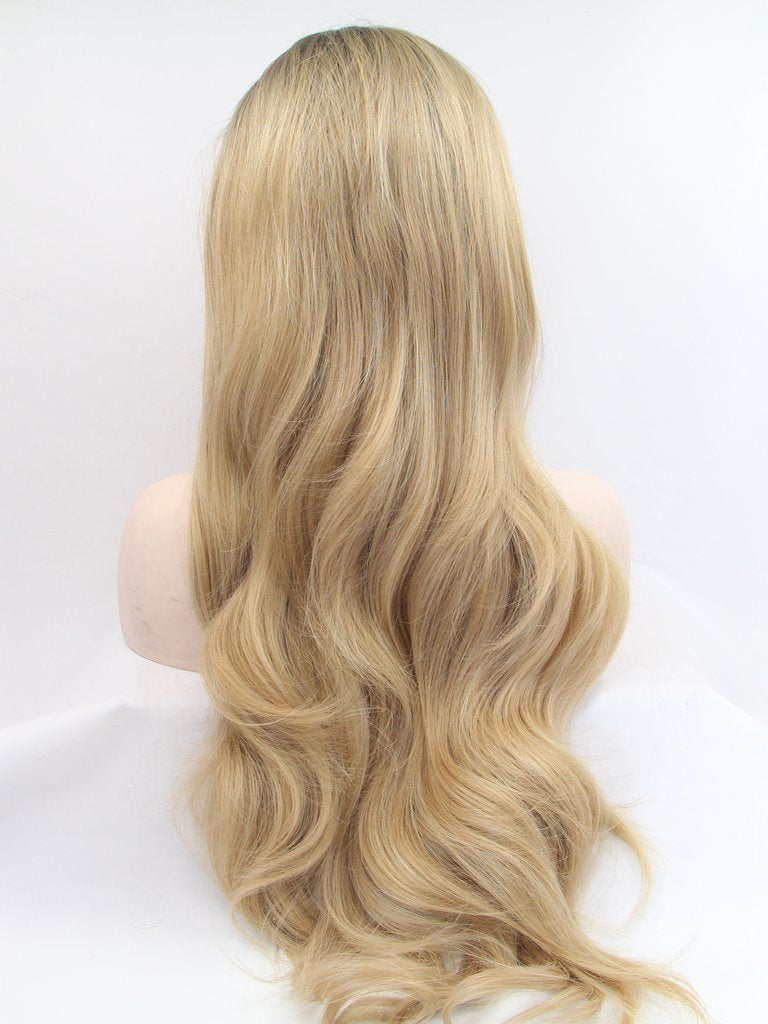 Long Wavy Ombre blonde Synthetic Lace Front Wigs