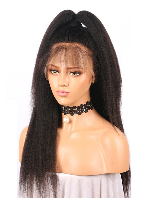 Brazilian Kinky Straight Human Wig with Baby Hair Glueless 13x6 Lace Front Wig 150% Density Pre Plucked Bleached Knots Natural wigs For Black women