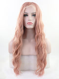 Long Pink Wavy  Synthetic Lace Front Wigs