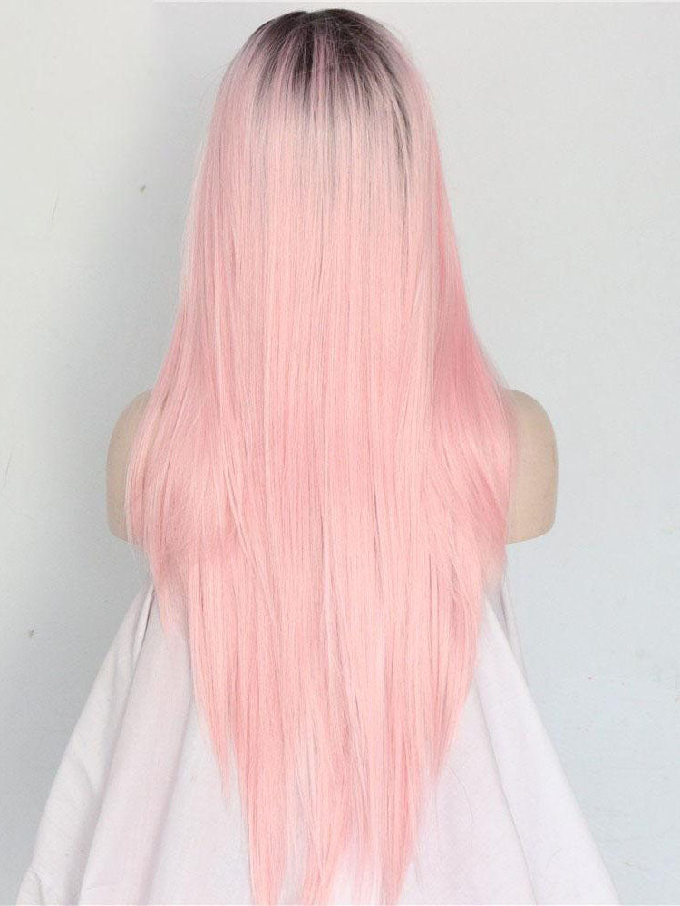 Straight Long Ombre Pink Synthetic Lace Front Wigs