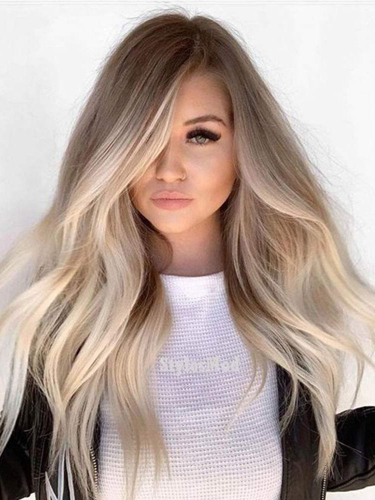 Long Ombre Blonde Human Lace Front Wigs Preplucked 100% Human Full Lace Wigs 2 tones 360 Lace Wigs
