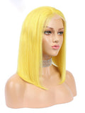 Human Bob Short Lace Front Wigs Pre Plucked 150% With Baby Hair 613 Blonde Pink Blue Red Green Orange Yellow Ombre Short Bob Wigs
