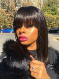 100% Real Human Hair Bleached Knots 13x6 Lace Front Wigs for Black Women with Bangs 150 Density bob wigs 360 lace wigs