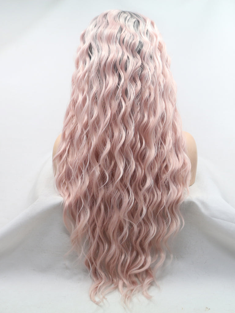 Long Ombre Pink Wavy Synthetic Lace Front Wigs