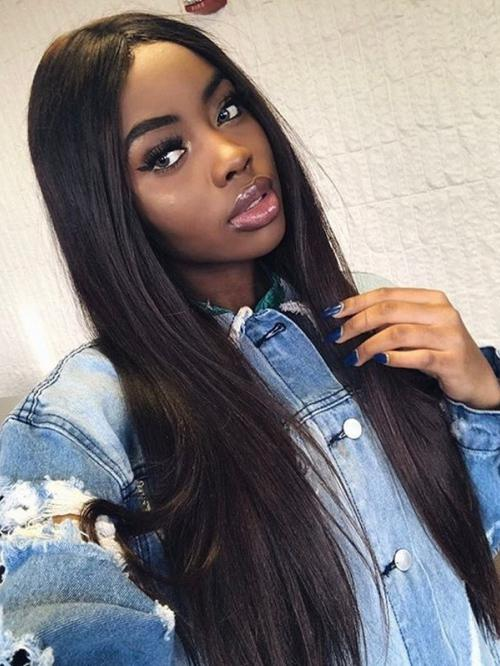 Lace Front Wigs Long Straight Brazilian Virgin Human Hair Lace Closure Wigs For Black Women 150% Density Pre Plucked With baby hair