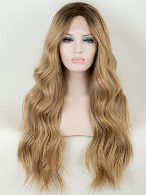 Long Ombre Blonde Synthetic Lace Front Wigs