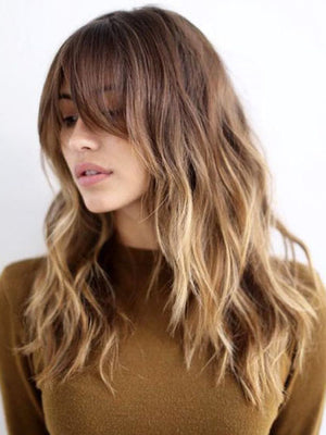 Ombre Brown to Blonde Human Hair Lace Front Wigs with bangs