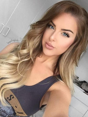 Ombre Blonde Wavy Human Full Lace Wigs Lace Front Wigs For White Women