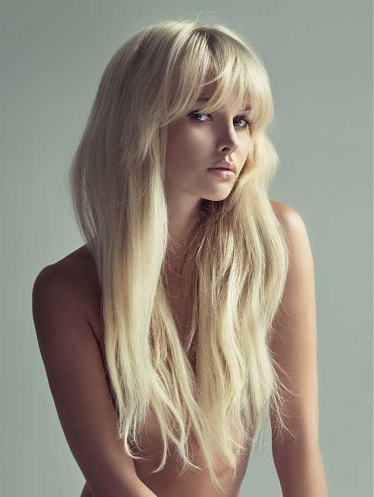 Long Blonde Wavy 150 Density Preplucked Human Full Lace Wigs Lace Front Wigs With Bangs