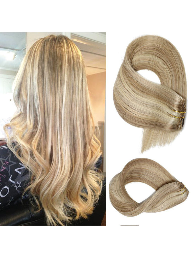 Blonde Highlights Clip in Hair Extensions#18/#613