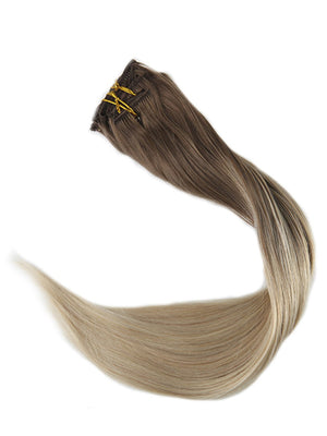Ombre ash brown  Clip in Hair Extensions #8#60
