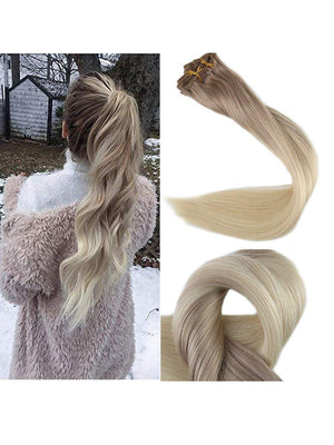 Ombre White Blonde Clip in Hair Extensions #18#60