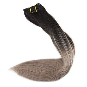 Ombre blonde Clip in Hair Extensions #1B#18