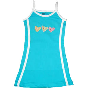 Aqua Cotton Tennis Dress - Hearts