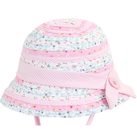 Image of Baby Girls Patchwork Bucket Hat - Pink