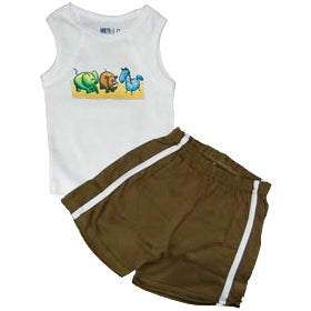 Baby Boys Set - Zoo Friends Khaki