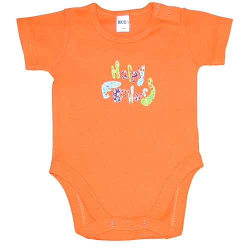 Baby Girls Orange Happy Romper