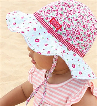 Image of Baby Girls Rosie Posie Floppy Hat - Reversible