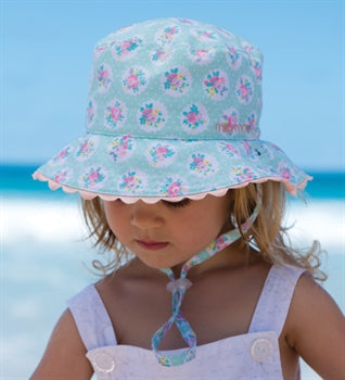 Baby Girls Sage Bucket Hat - Reversible