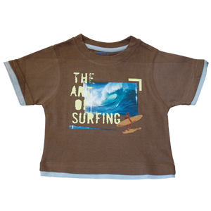 Boys Brown Tshirt Art of Surfing