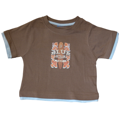 Boys Brown Tshirt Surfing