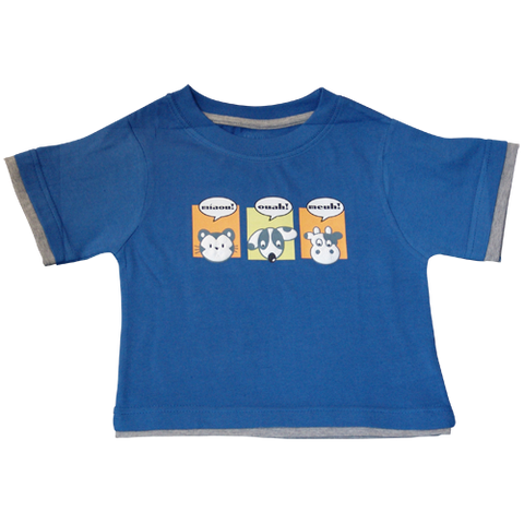 Boys Dark Blue Tshirt French Animals