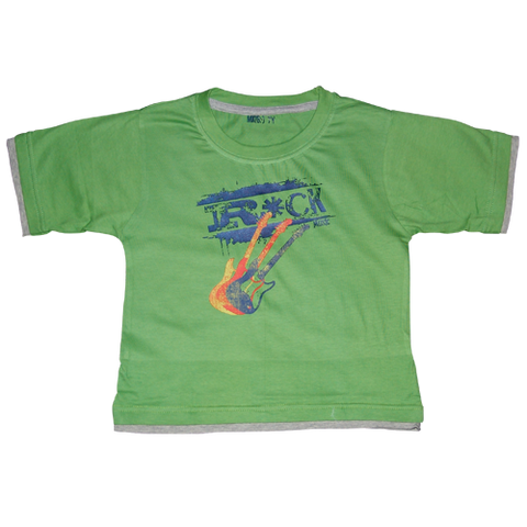 Boys Green Tshirt Rock Guitars