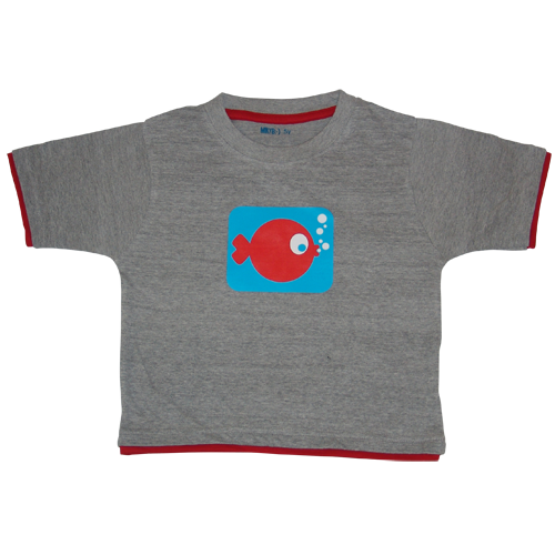 Boys Grey Tshirt Funky Fish