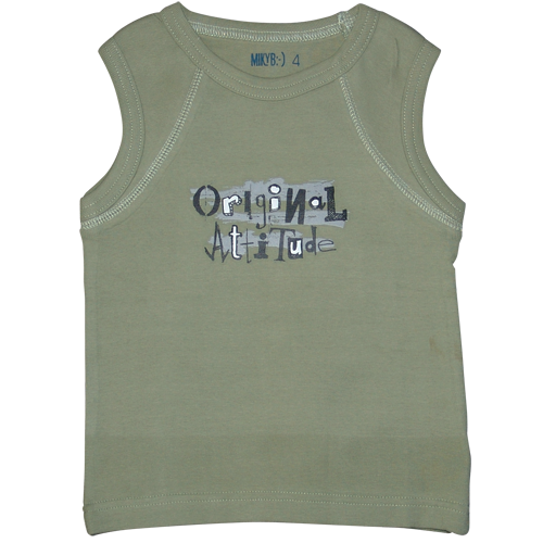 Boys Khaki Muscle Top Attitude