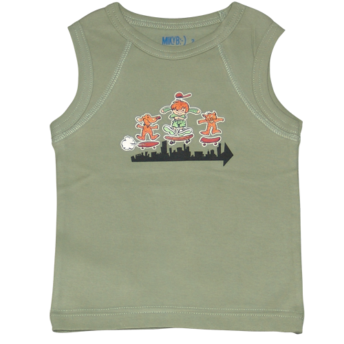 Boys Khaki Muscle Top Skateboarding